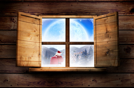delivery room: Santa delivery presents to village against window in wooden room