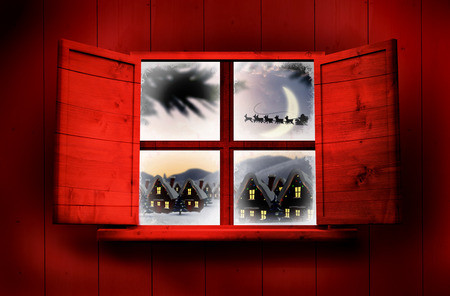 delivery room: Window in wooden room against santa delivery presents to village