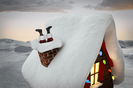 land scape: Santa claus boots against digitally generated snowy land scape