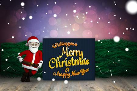floorboard: Cute cartoon santa claus against shimmering light design over boards