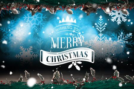 Cute cartoon santa claus against shimmering light design over boards