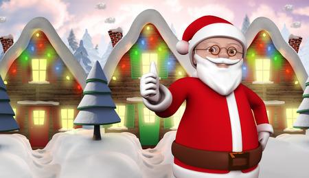 row of houses: Cute cartoon santa claus against row of snow covered houses