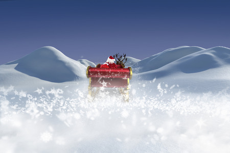 land scape: Santa flying his sleigh against digitally generated snowy land scape