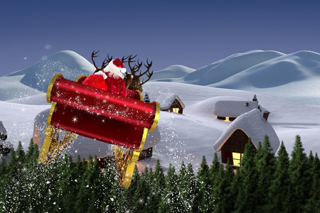 generated: Santa flying his sleigh against digitally generated snowy land scape