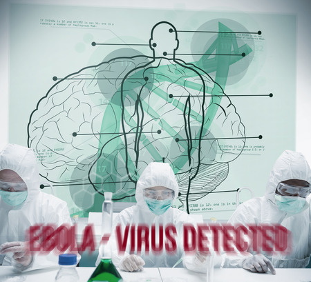 Chemists working in protective suit with futuristic interface showing scientific diagrams with body, brain and dna photo