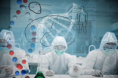 Chemists working in protective suit with futuristic interface showing DNA against dna helix in blue and red with ecg line photo