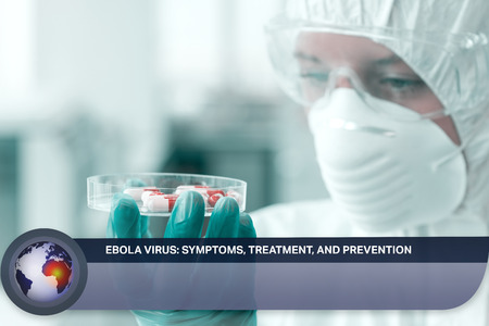 Digital composite of Ebola news flash with medical imagery photo