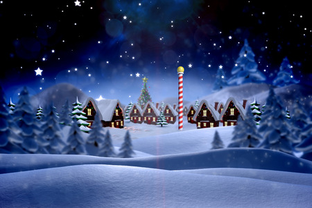 christmas village: Cute christmas village against snowy landscape with fir trees