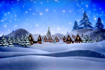 landscape: Cute christmas village against snowy landscape with fir trees