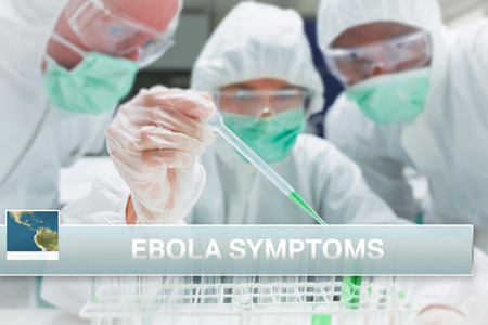 news flash: Digital composite of Ebola news flash with medical imagery