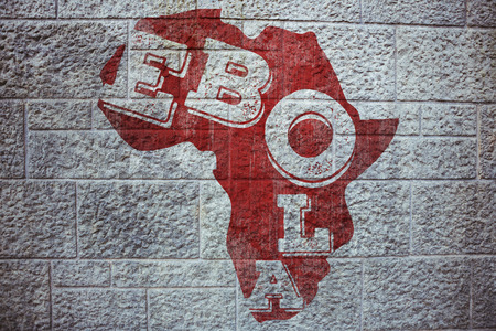 africa outline: Red ebola text on africa outline against grey brick wall