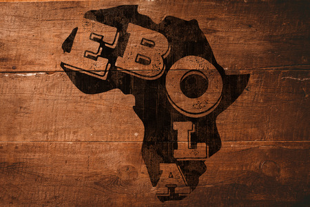 africa outline: Black ebola text on africa outline against overhead of wooden planks Stock Photo