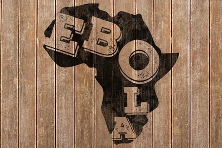 africa outline: Black ebola text on africa outline against wooden surface with planks