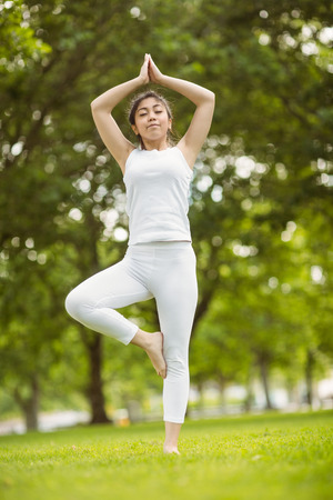 Full length of fit young woman standing in tree pose in the park photo