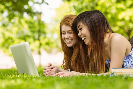 Happy relaxed young women using laptop in the park photo