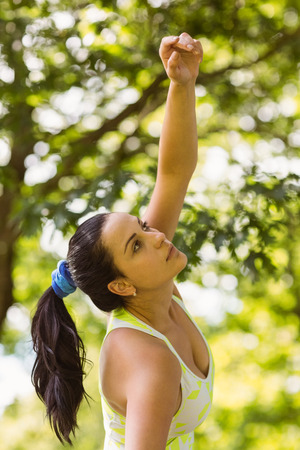 Concentrated fit brunette stretching in the park on a sunny day Stock Photo