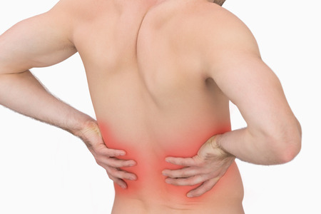 back sprains: Rear view of muscular man with backache over white background Stock Photo