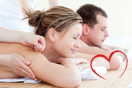 acupuncture: Loving couple having an acupunctre therapy against heart