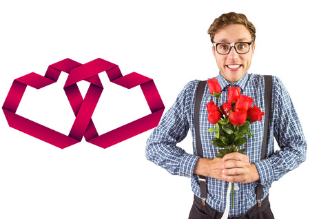 linking: Geeky hipster holding a bunch of roses against linking hearts