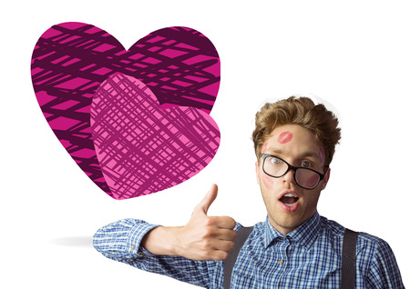 geeky: Geeky hipster covered in kisses against hearts
