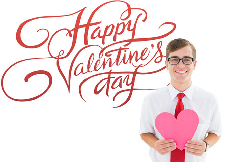 geeky: Romantic geeky hipster against happy valentines day