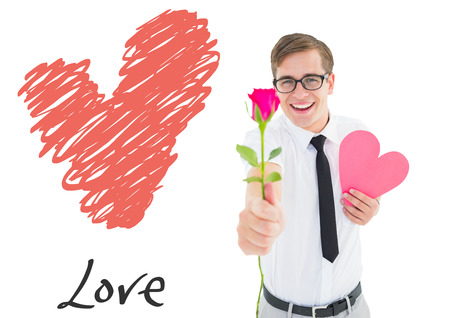 Romantic geeky hipster against love heart photo