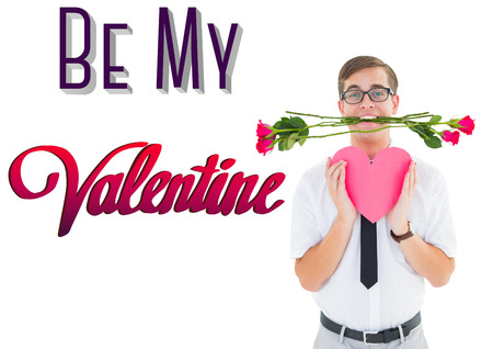 geeky: Romantic geeky hipster against be my valentine Stock Photo