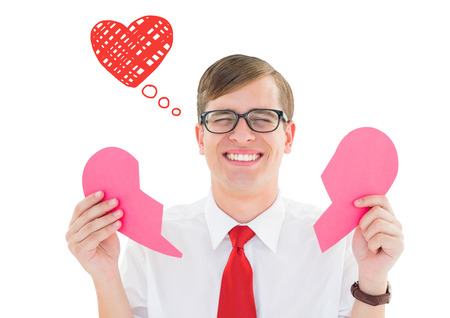 hearted: Broken hearted geek against heart Stock Photo