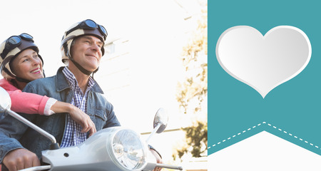 crash helmet: Happy senior couple riding a moped  against heart label