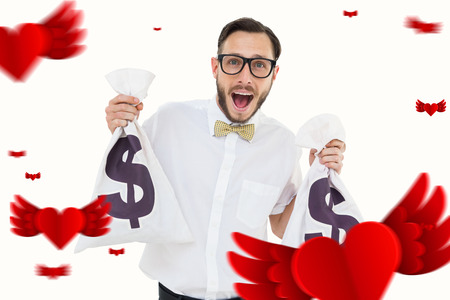 geeky: Geeky businessman holding money bags against hearts