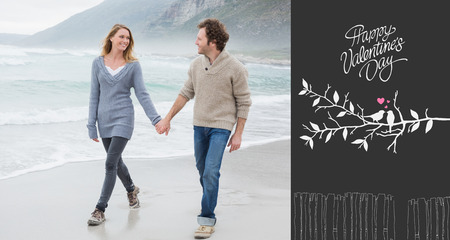 Couple holding hands and walking at beach against cute valentines message photo