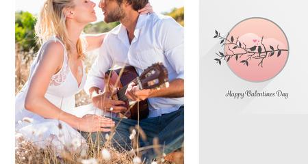 serenading: Handsome man serenading his girlfriend with guitar against love birds