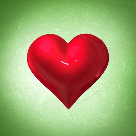 vignette: red heart against green vignette Stock Photo