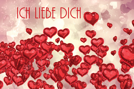 Liebe: ich liebe dich against valentines heart design