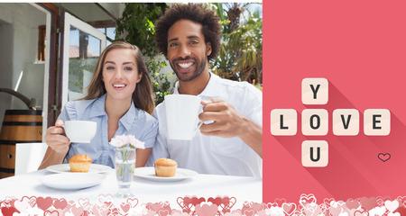 bebes lindos: Pareja feliz tomando un café juntos contra el amor le azulejos