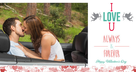 Young couple smooching on the backseat against i love you message photo