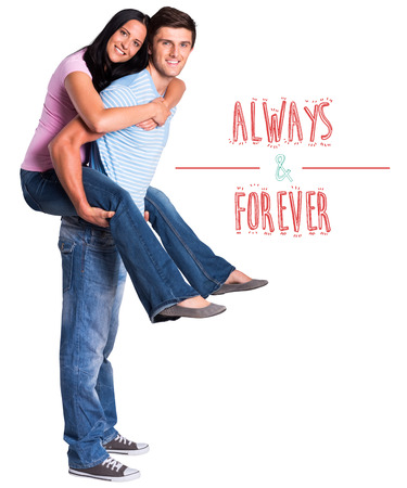 always: Young man giving girlfriend a piggyback ride against always and forever