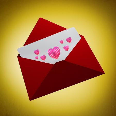 vignette: Love letter against yellow vignette