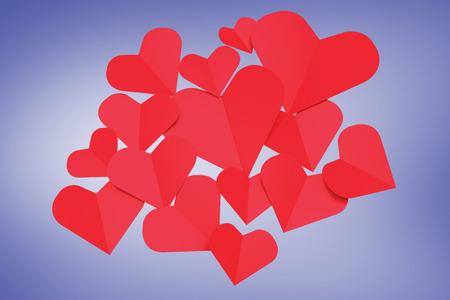 vignette: Love hearts against purple vignette
