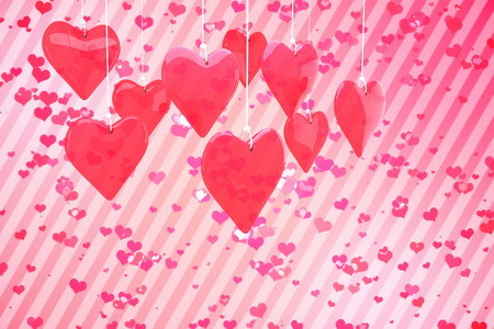 girly: Love hearts against digitally generated girly heart design
