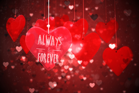 always: always and forever against valentines heart design