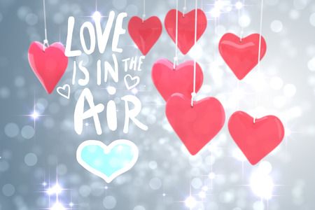 love is in the air against light design shimmering on silver