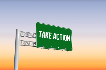 take action: The word take action and green billboard sign against purple and orange sky Stock Photo