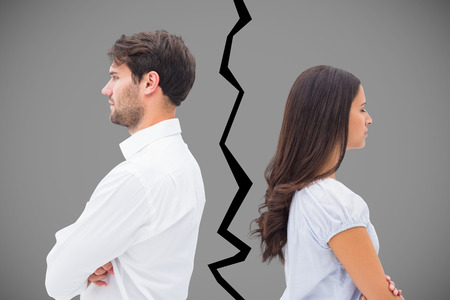 Upset couple not talking to each other after fight against grey