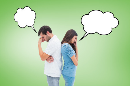 not talking: Upset couple not talking to each other after fight against green vignette