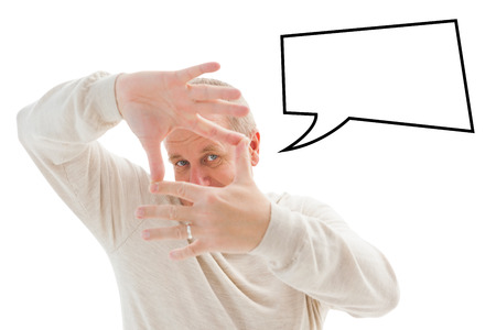 framing: Happy mature man framing with hands against speech bubble Stock Photo