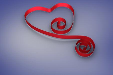 ribbon heart: Red ribbon heart against purple vignette