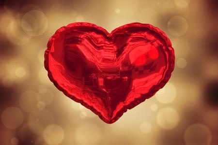 graphics design: Red heart balloon against orange abstract light spot design