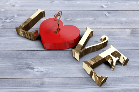 bleached: Love with lock and key against bleached wooden planks background Stock Photo