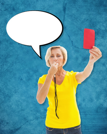Mature blonde showing red card to camera against blue photo